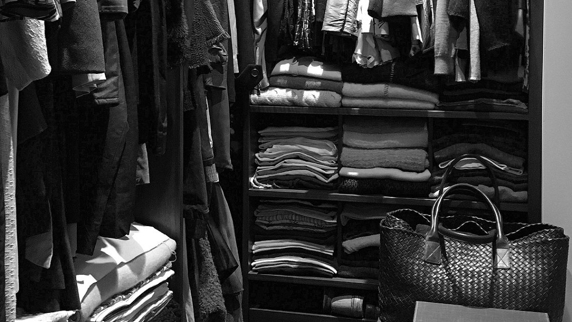 Closet in black and white photo filter