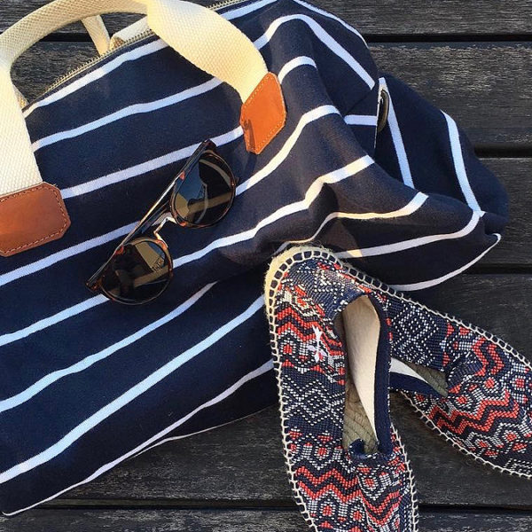 Bag with sandals and sunglasses