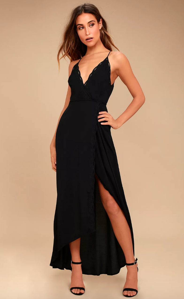 ASTR black lace maxi dress