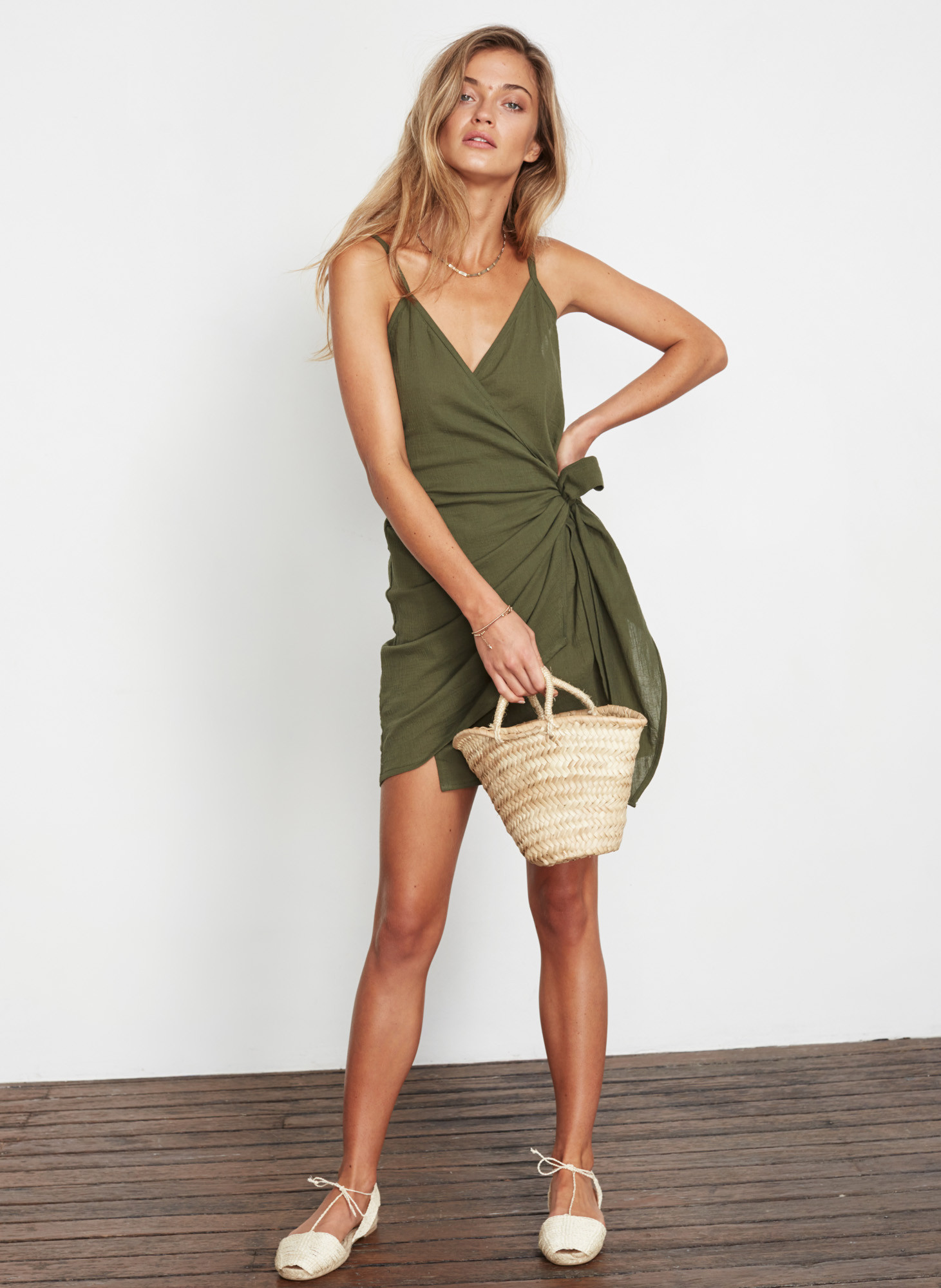 Faithfull the Brand Plain Khaki - Kara Wrap Dress