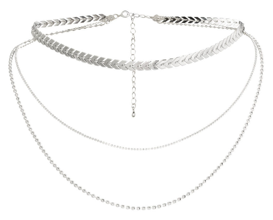 HM three layer silver necklace