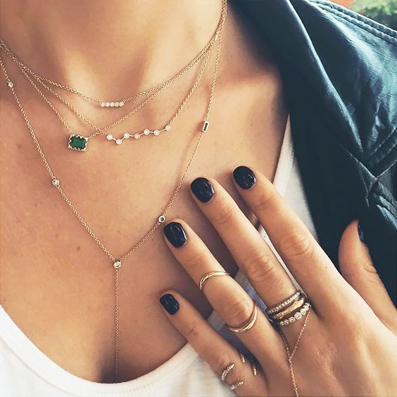 Layered dainty necklaces