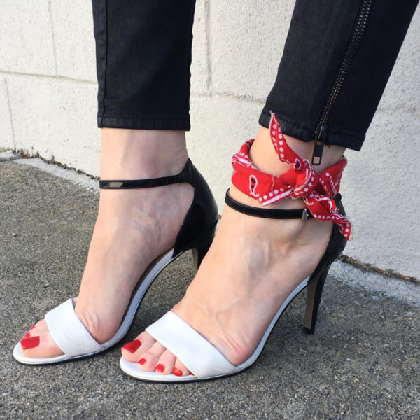 Black and white heels with red bandana
