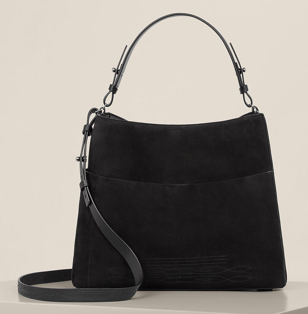 All Saints black hobo bag front view