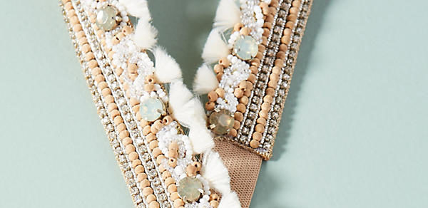 Anthropologie Marabelle Embellished Belt in white and nude