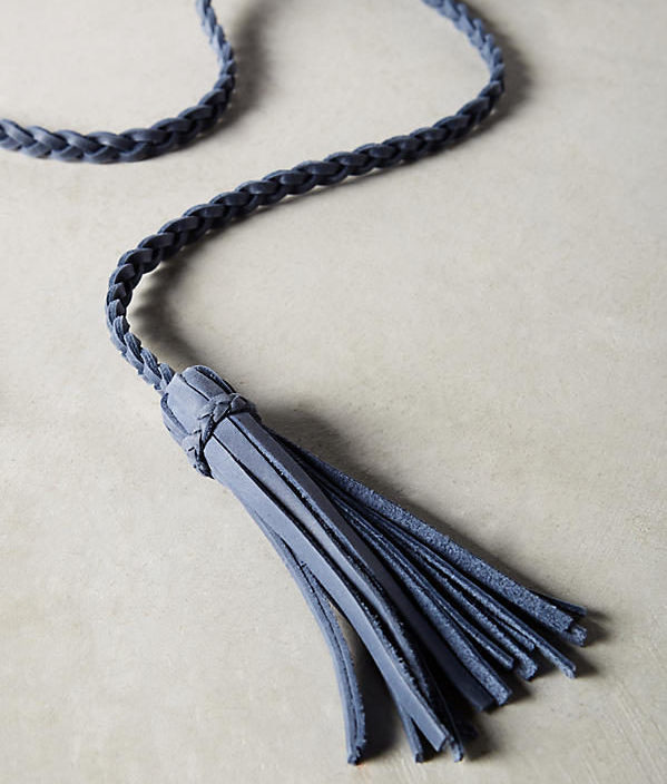 Anthropologie Selmi Fringe Belt in navy detail