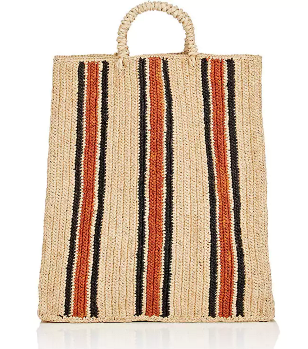Natural straw bag with red and navy stripes