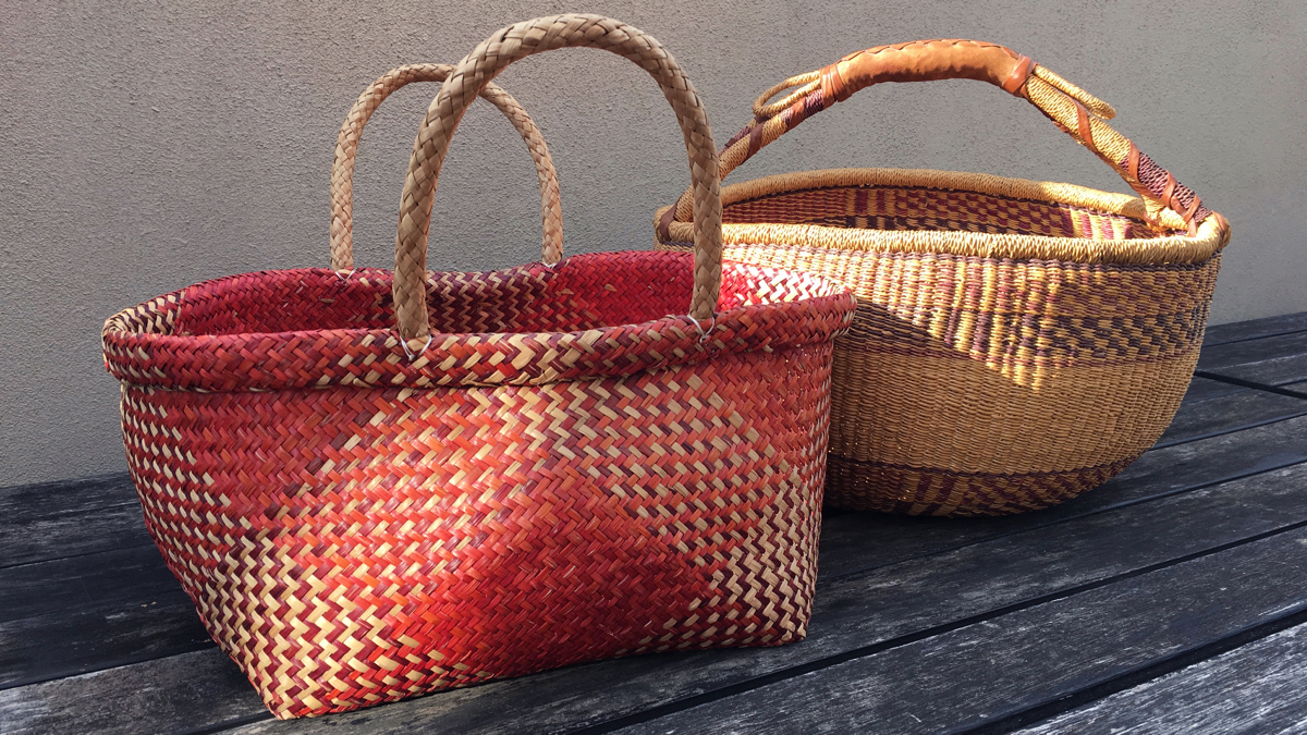 Red and yellow basket weave bags