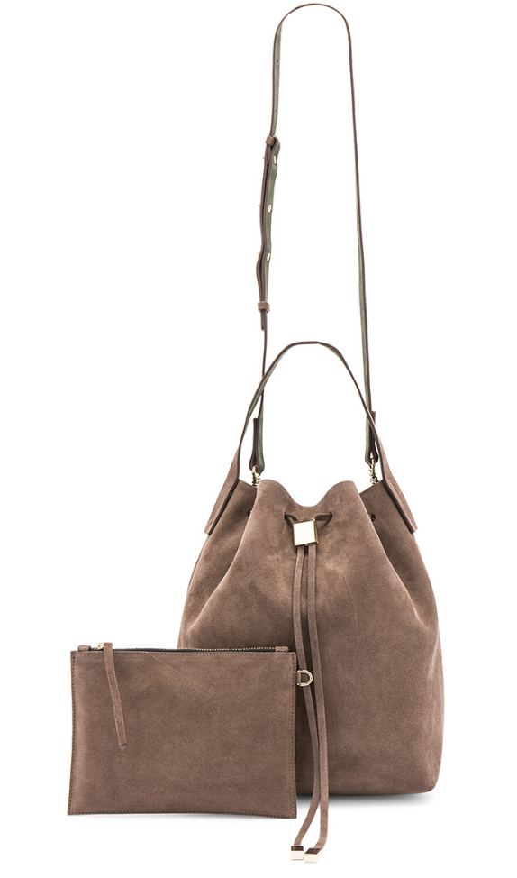 Gvyn beige suede bag with details