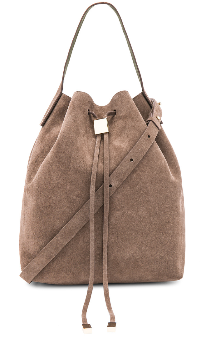 Gvyn beige suede bucket bag front view
