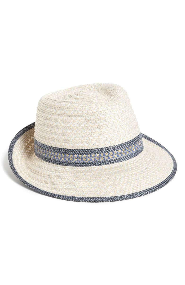 White straw hat with blue trimming