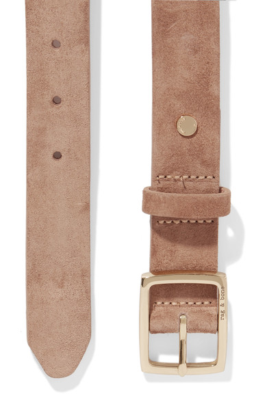 Rag and Bone belt in suede tan details