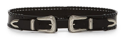 Double buckle belt in silver and black Rebecca Minkoff