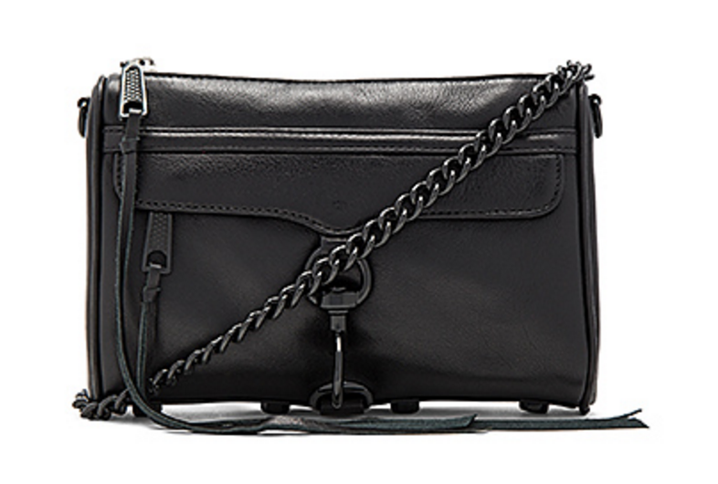 Rebecca Minkoff Mini Mac bag in black front view