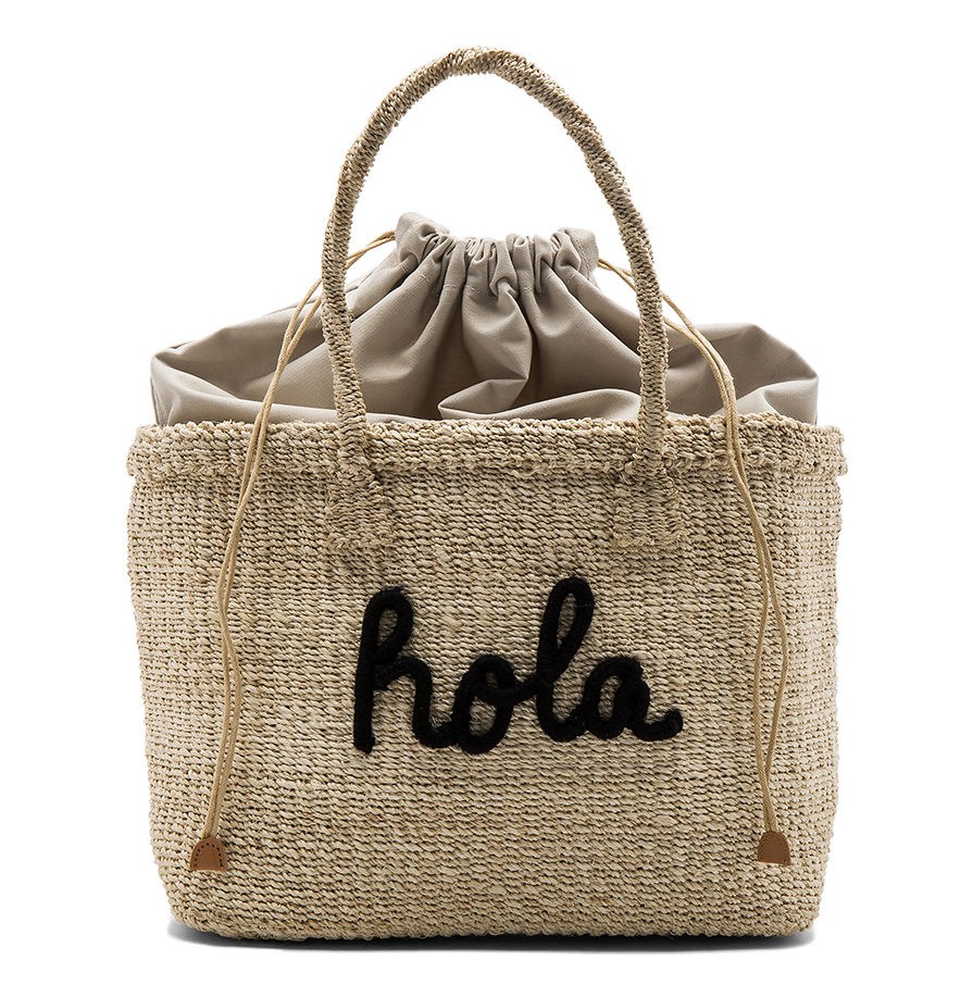 Straw bag in natural with Hola print