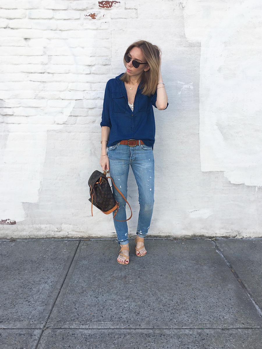 Ripped jeans, cobalt shirt and Louis Vuitton bag outfit