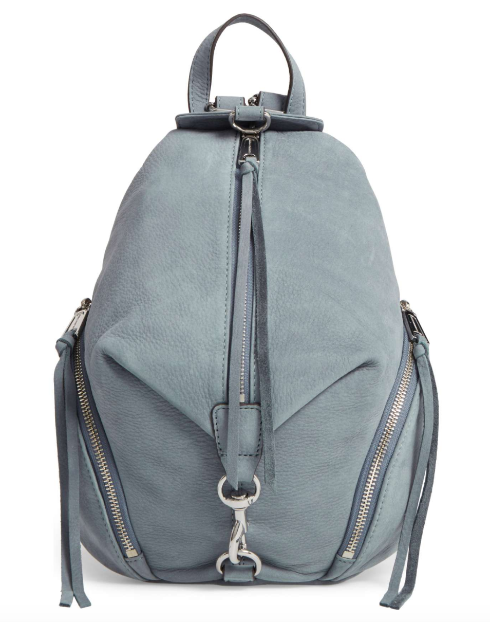 Rebecca Minkoff light blue suede backpack front view