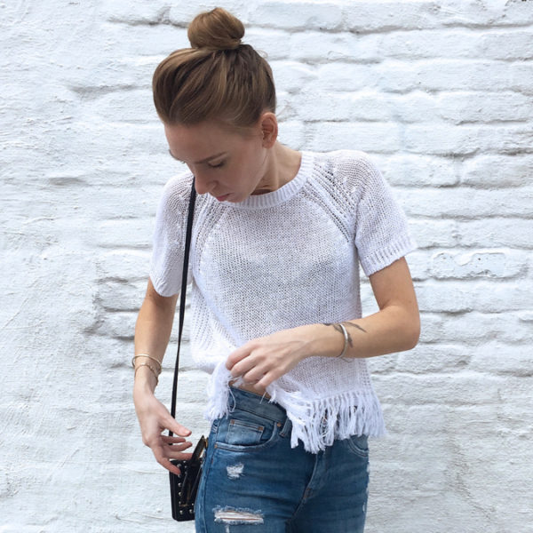 White fringe top outfit zoomed in