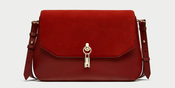 Zara red crossbody bag front view