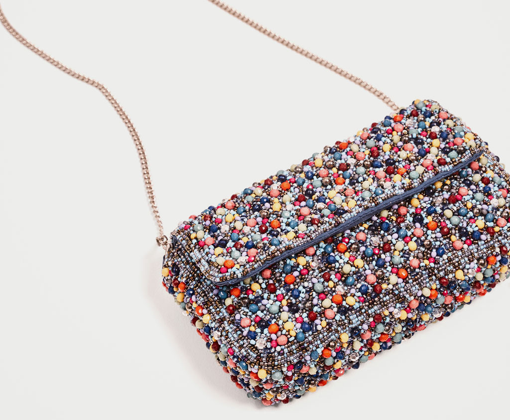 Zara multicolored beaded bag front view