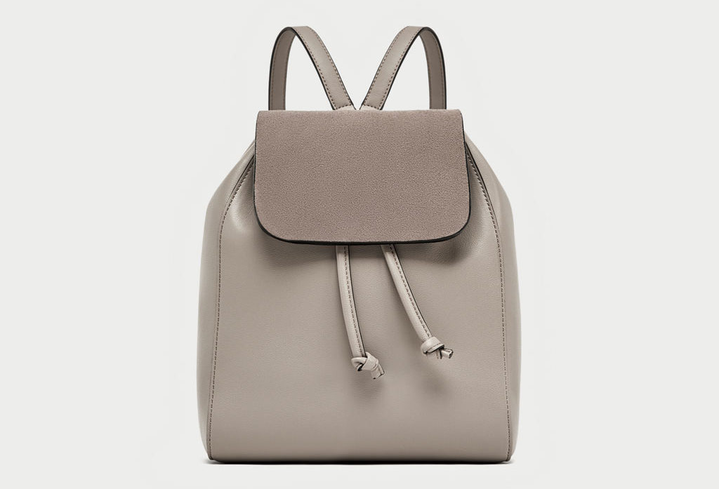 Zara beige backpack front view