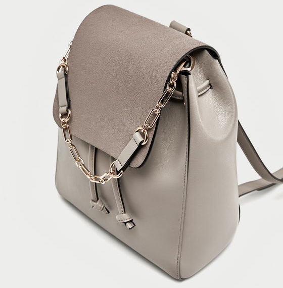 Zara beige backpack back view