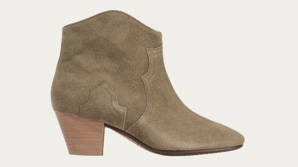 Isabel Marant Dicker Boots in taupe side view