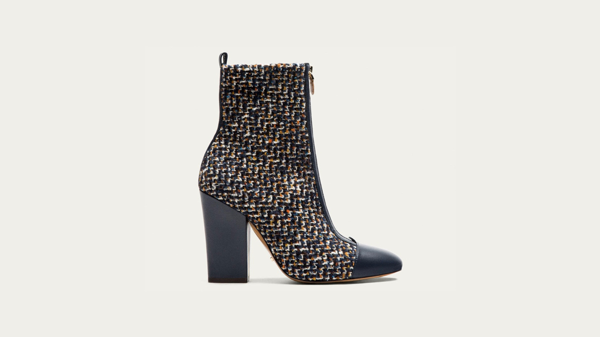 Massimo Dutti contrasting color booties side view