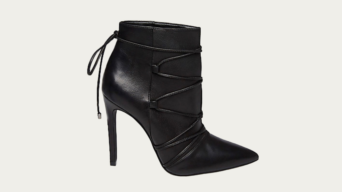 steve Madden Anika leather heeled bootie side view