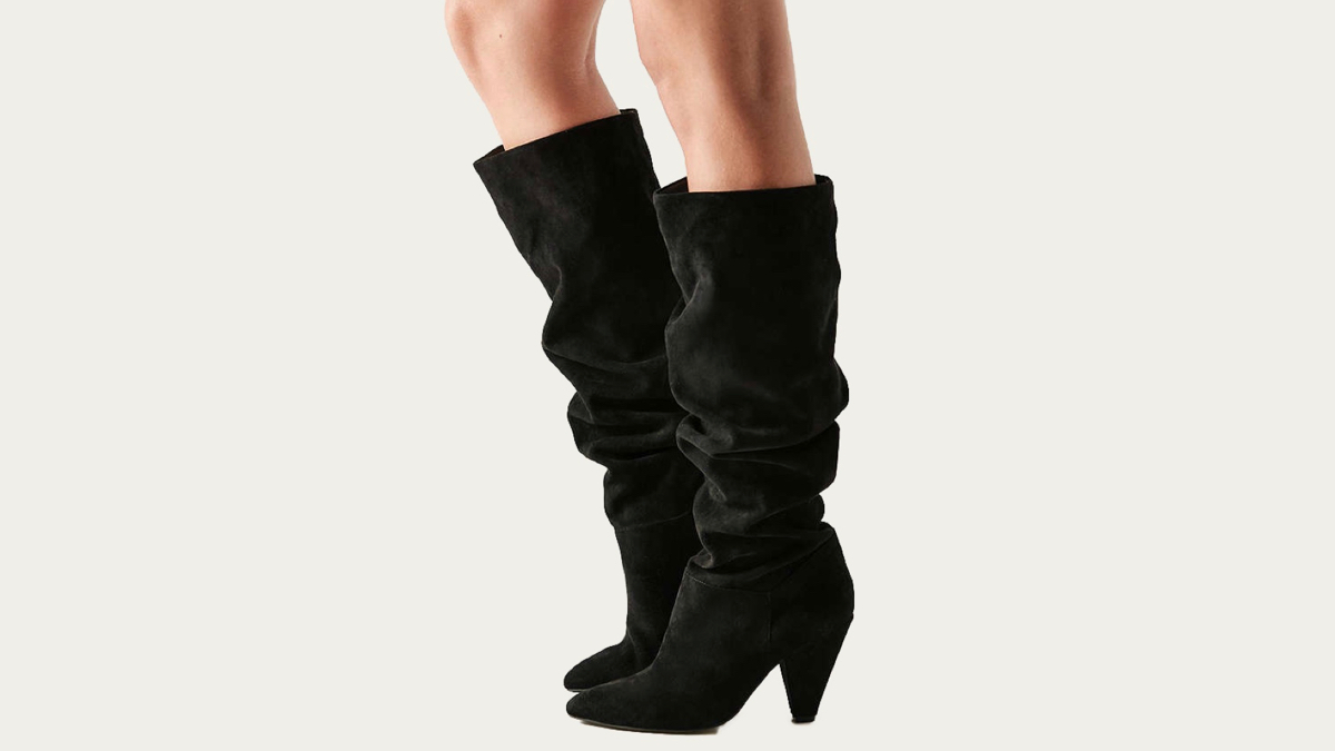 Black knee high boots side view
