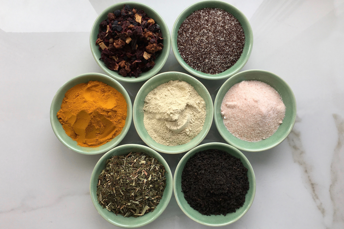 Bowls mixed with various powders and spices