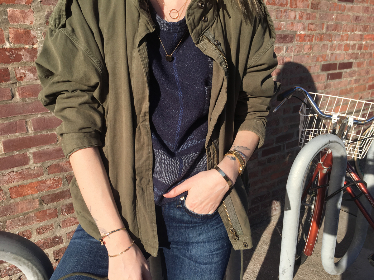 Detail shot of jeans and green jacket