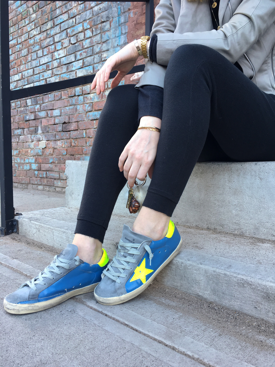 Golden Goose sneakers in blue and neon green