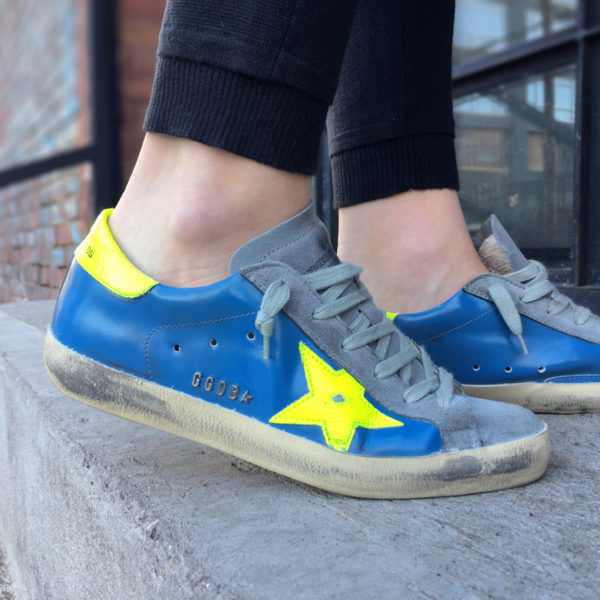 Golden Goose sneakers in navy and neon green