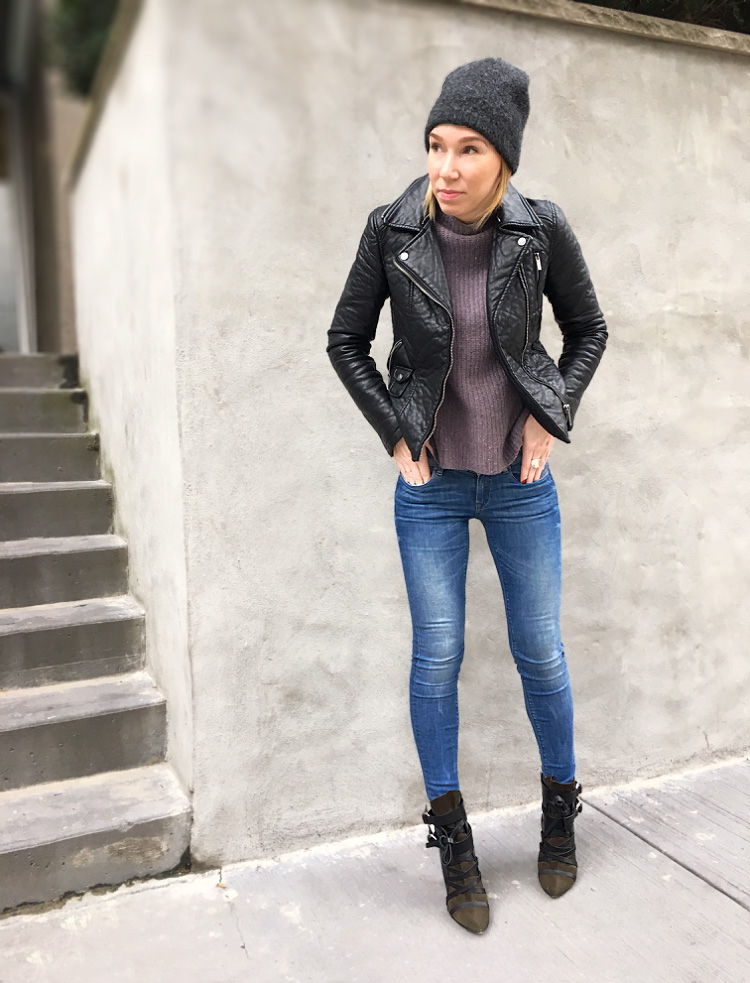 Leather jacket and jeans outfit