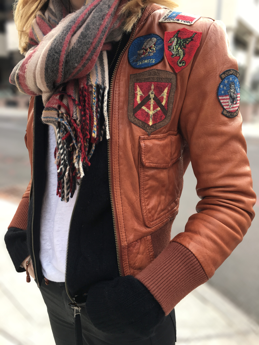 Detail shot of leather jacket with patches
