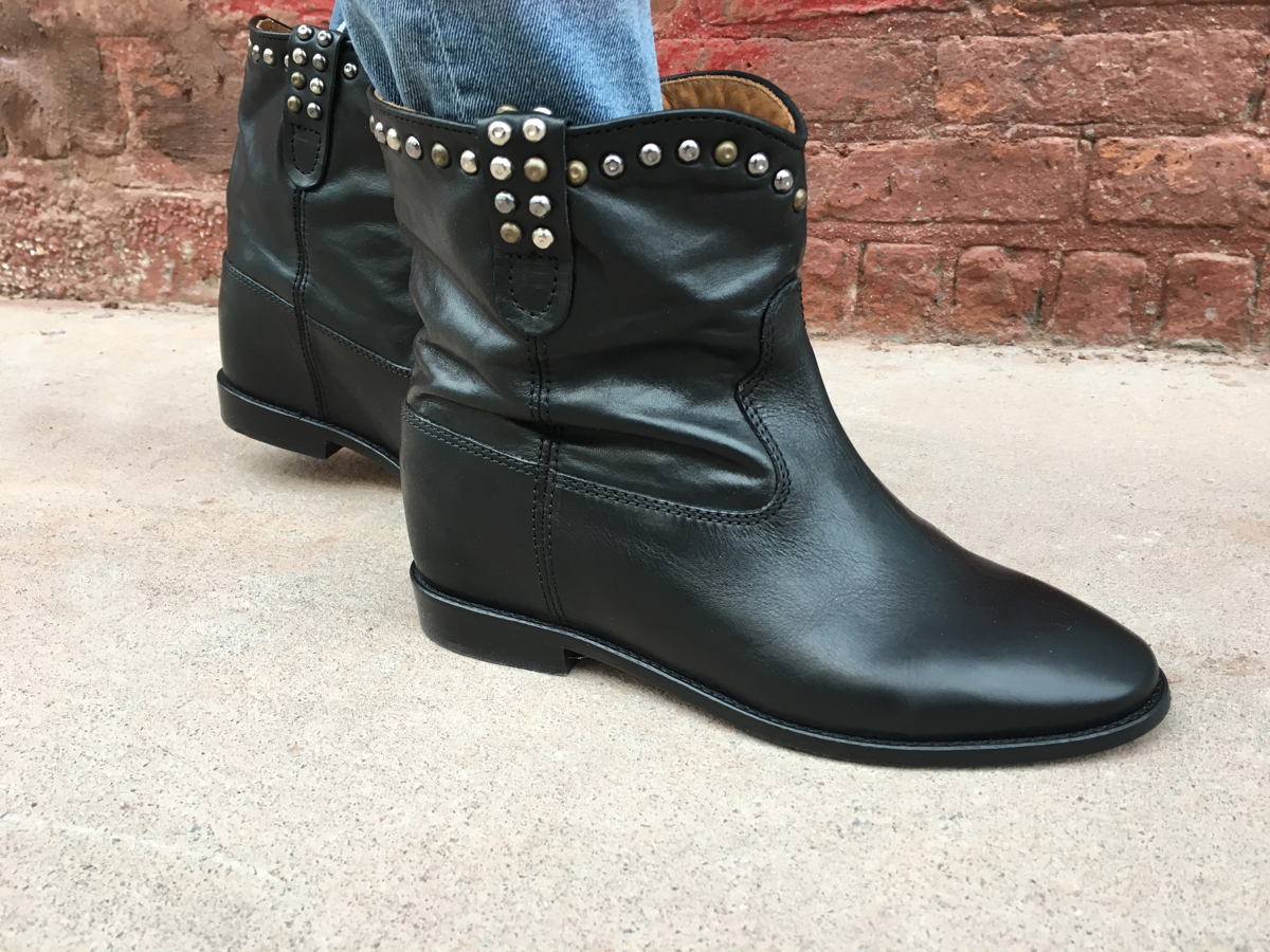 Side view of black leather boots