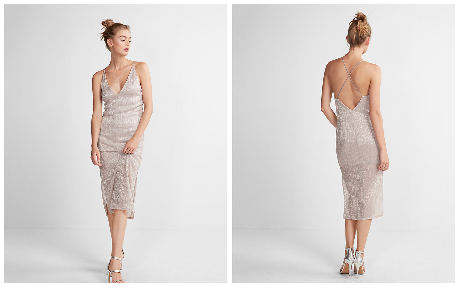 Express champagne colored dress