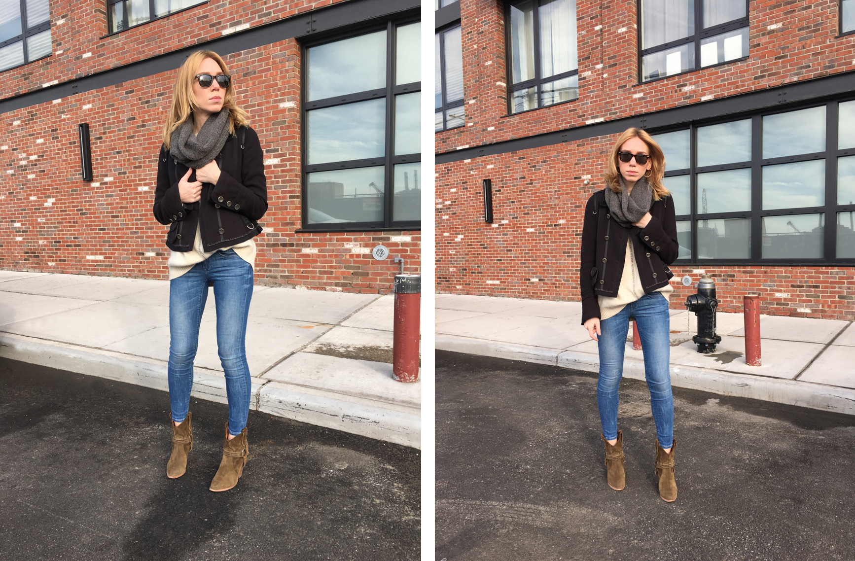 Two images of woman posing in jeans, beige sweater, and navy coat