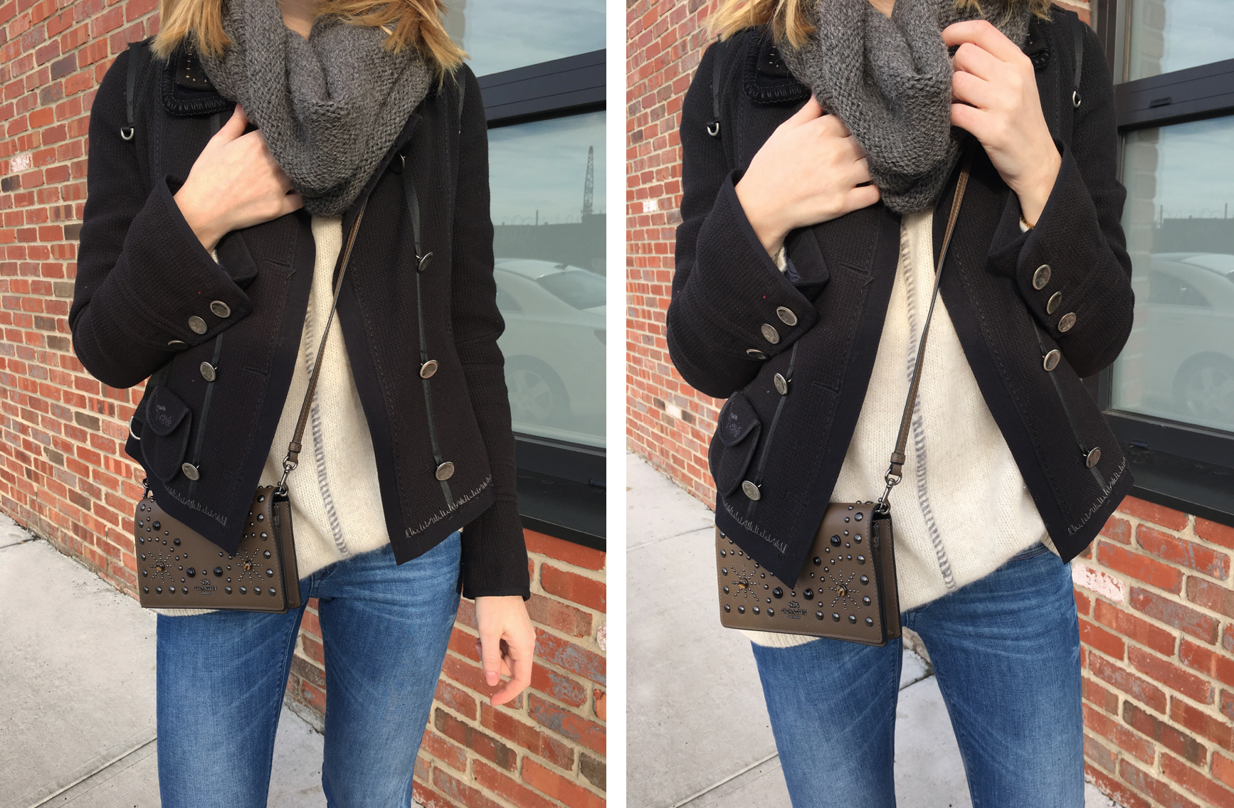 Two detail shots of beige sweater with navy coat and grey scarf