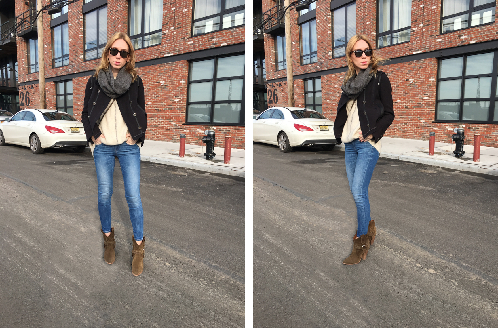 Two photos of woman posing in jeans and navy jacket