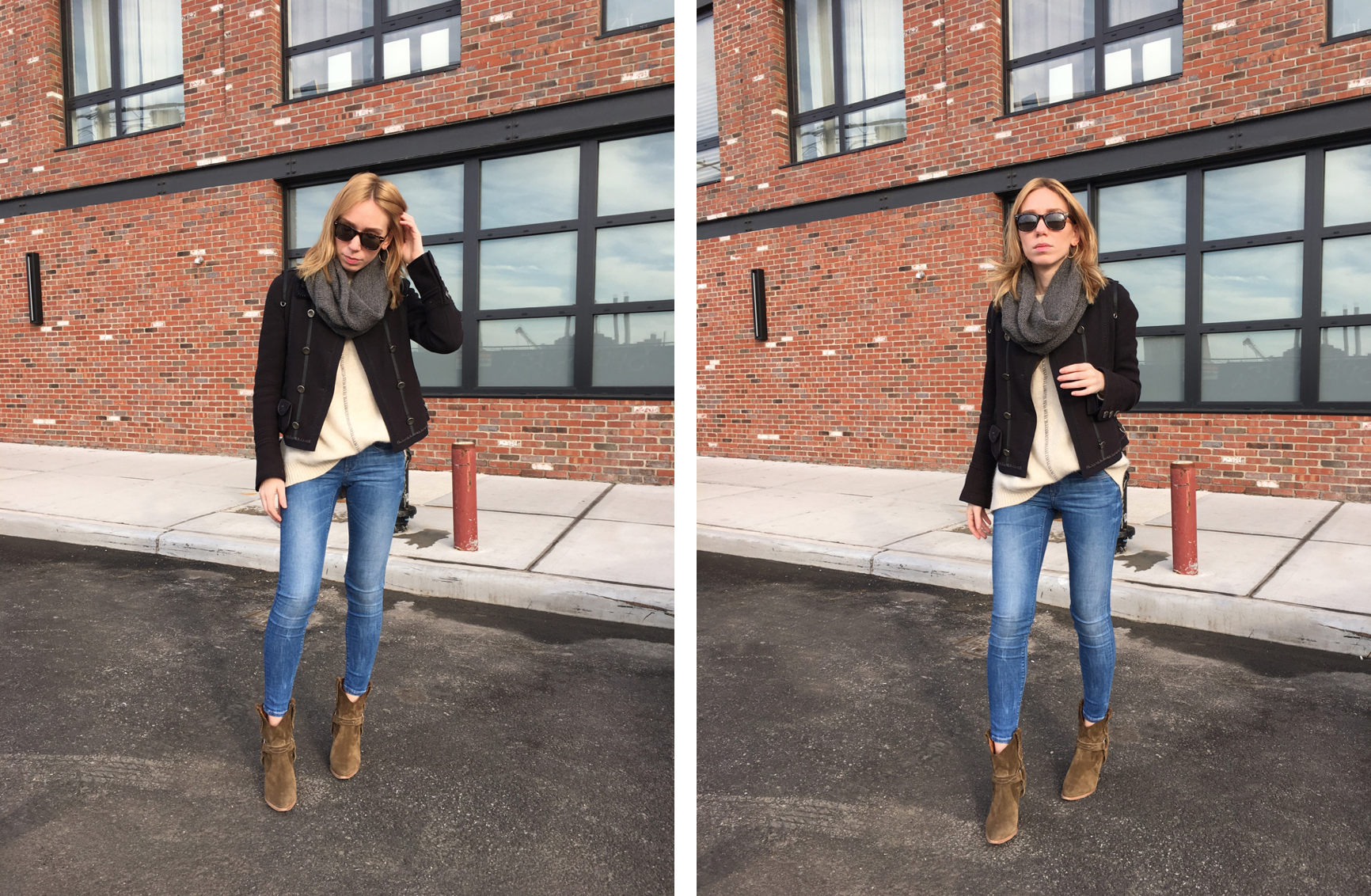 Two photos of woman posing in denim and navy jacket