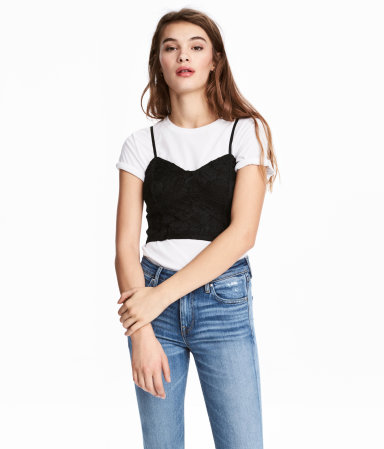 Model wearing black lace top with tee