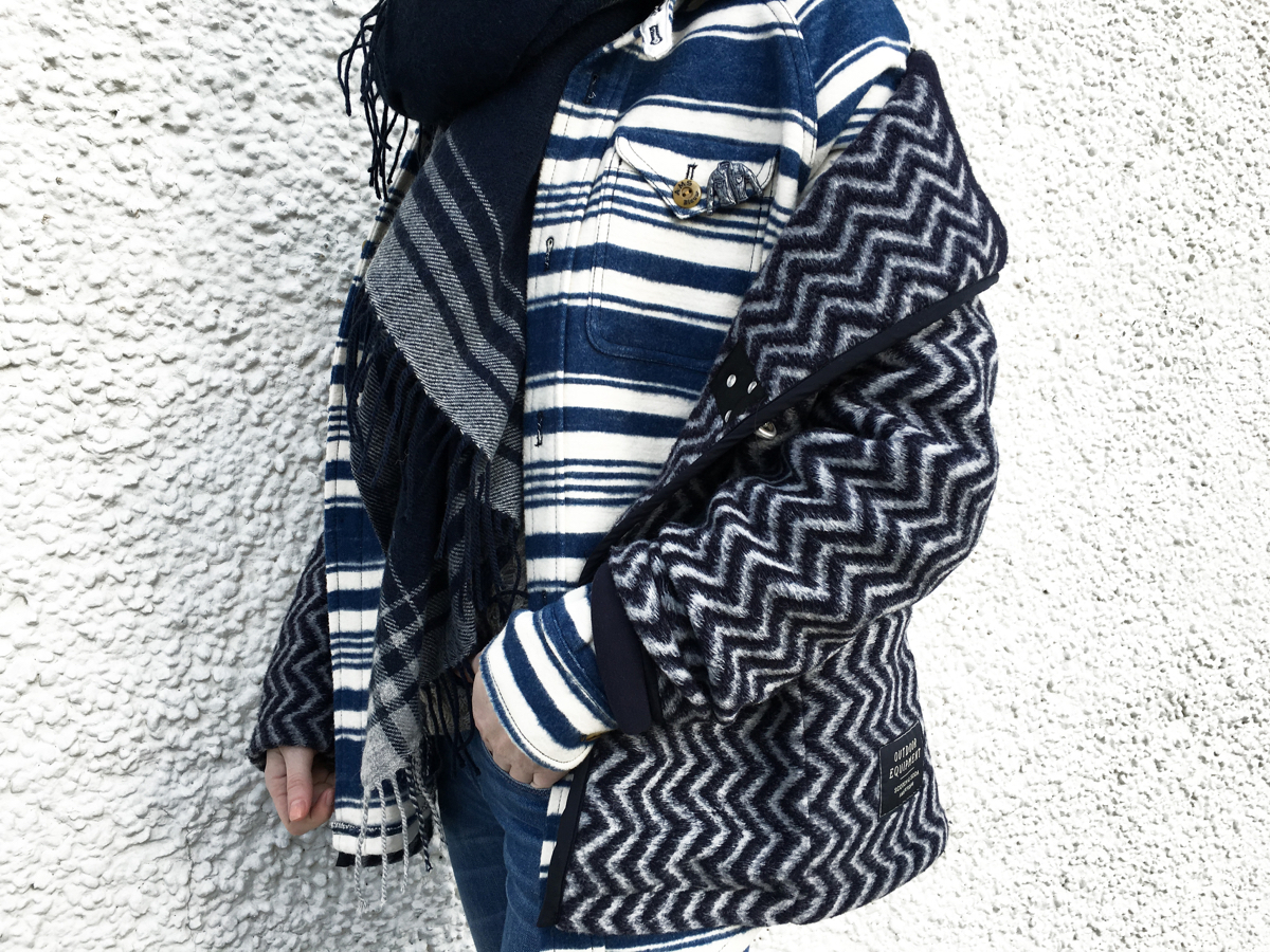Side detail shot of layered navy jacket